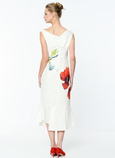 V Yaka Uzun Volanlı Elbise-Soie Design